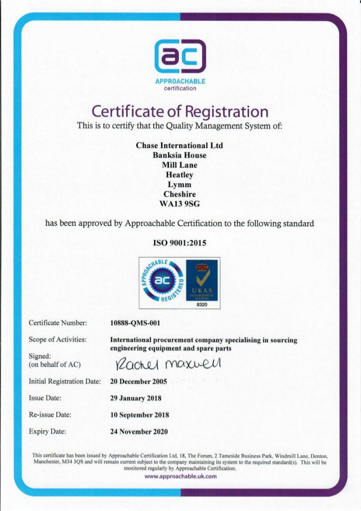 Chase International ISO 9001 015