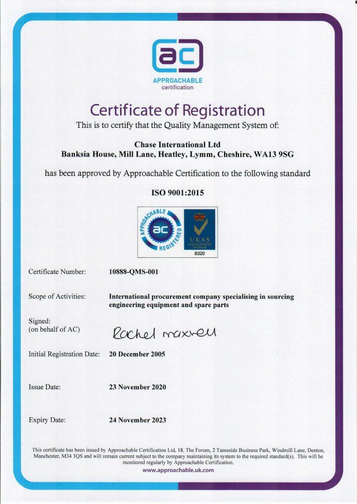 Chase International ISO 9001 2015